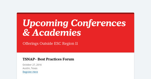 Upcoming Conferences & Academies