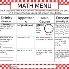 Math Homework Menu