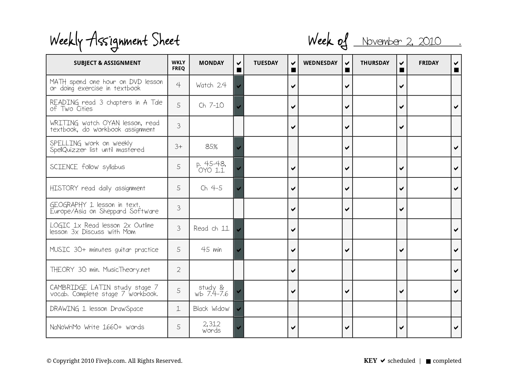 Customizable Homeschool Weekly Assignment Planner