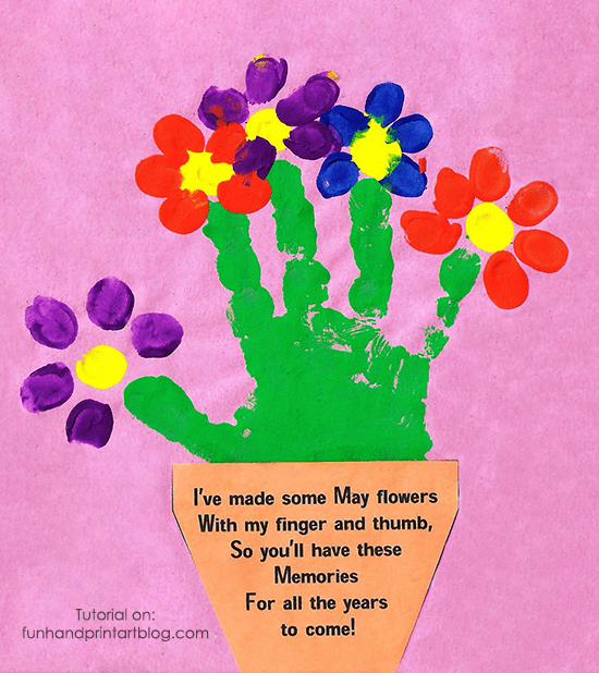 Handprint and Fingerprint Flowerpot with Poem for Mother's Day
