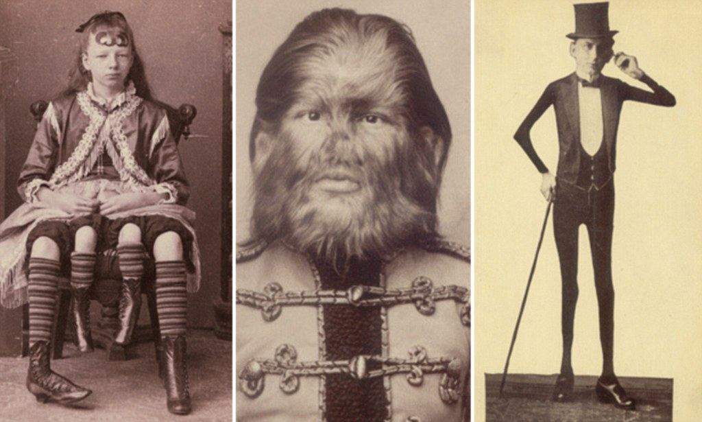 Dog-faced boy, four-legged Myrtle and the man with elastic skin: Bizarre photographs show why 19th-century audiences were captivated by carnival freaks