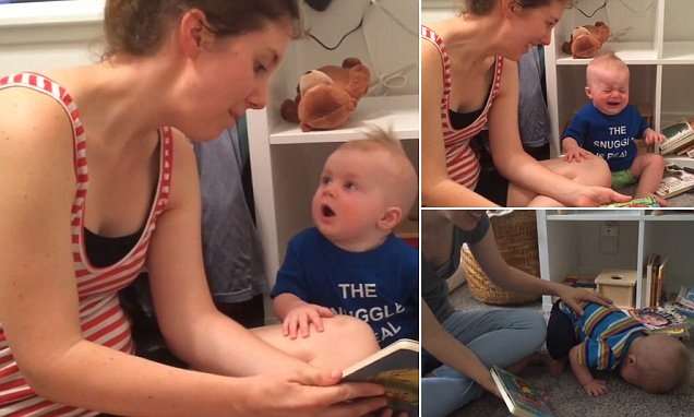 The saddest little bookworm: Baby sobs whenever its mom finishes book