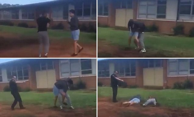 Two kids fighting in the schoolyard get tasered by a cop
