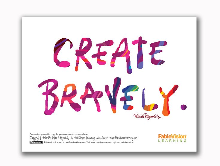 Free Create Bravely Poster By Peter H. Reynolds! | How to memorize things, Dot day, Art room