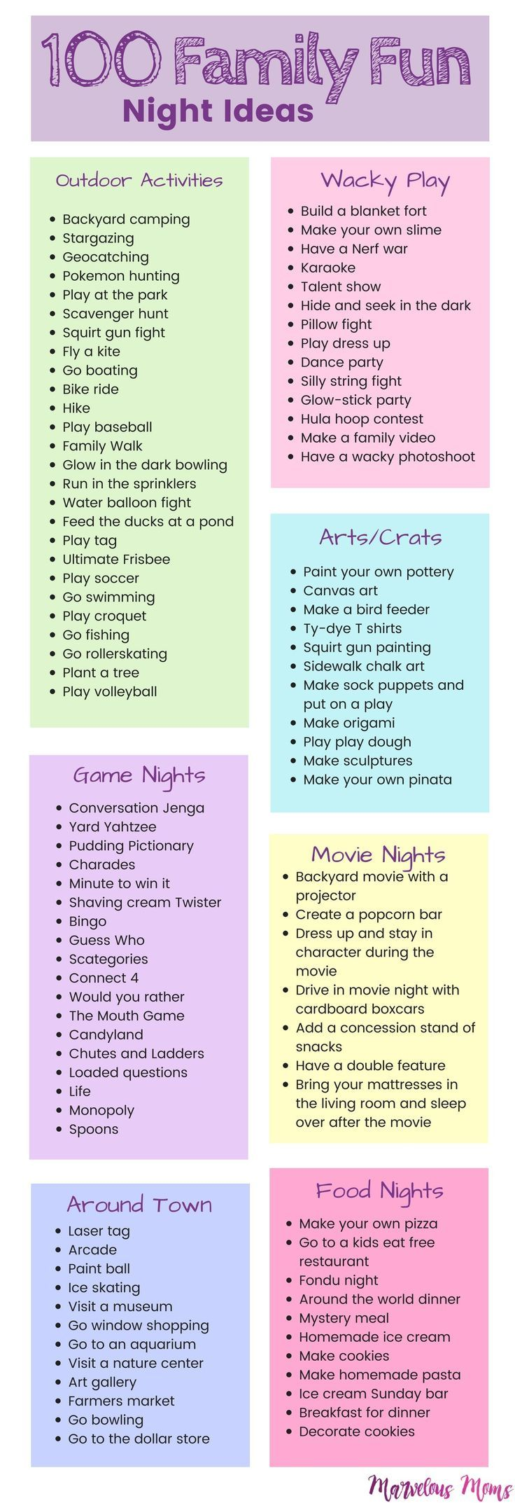 100 Family Fun Night Ideas | Kids activities | Playing with Kids | Activities for toddlers to teenagers | Free Family Nights | Out… | Parent newsletter | Pinterest | Family fun night, Parenting and Activities for kids