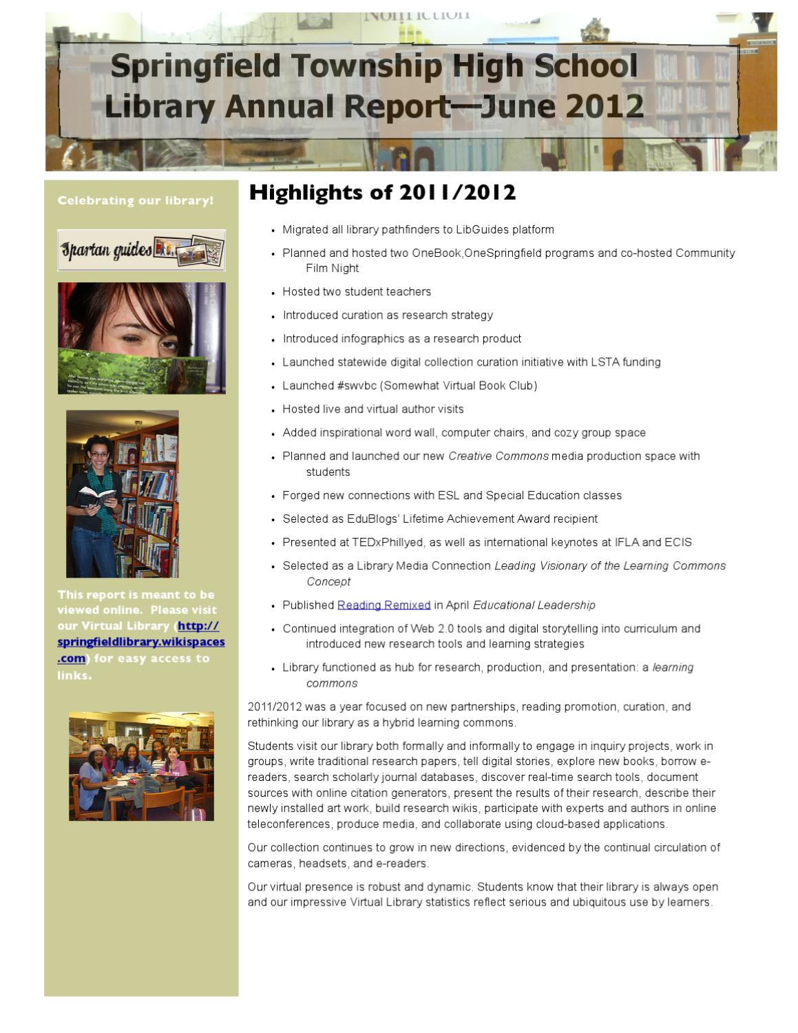 STHS Library Annual Report, June 2012