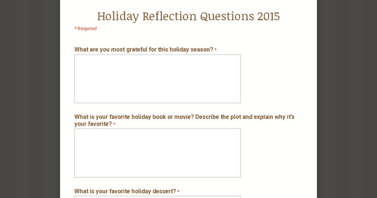 Holiday Reflection Questions 2015