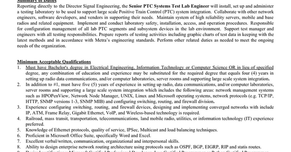 Senior PTC Test Lab Engineer #257