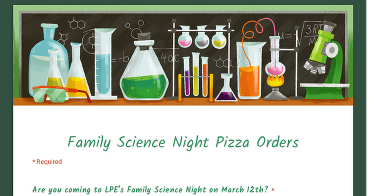 Family Science Night RSVPs