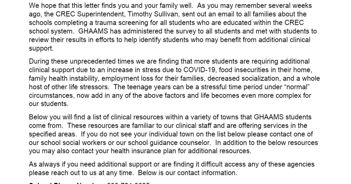 Parent Resources Letter.doc