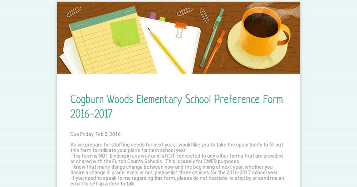 Cogburn Woods Elementary School  Preference Form 2016-2017
