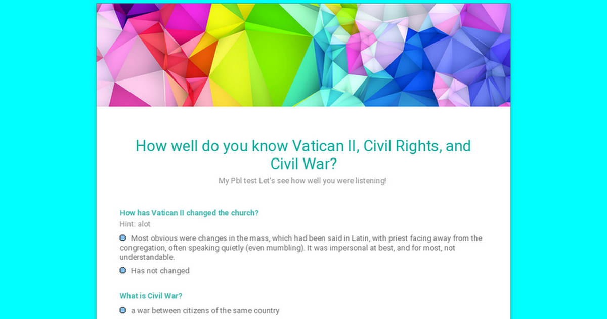 How well do you know Vatican II, Civil Rights, and Civil War?