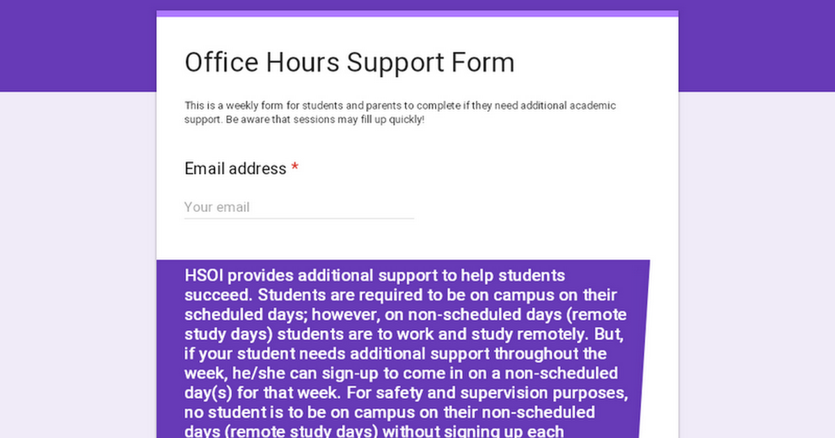 Academic Support Form