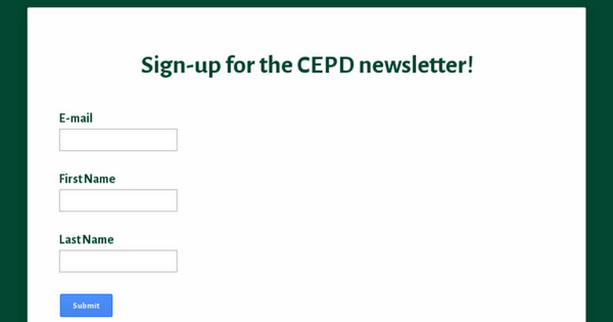 Sign up for the CEPD bi-monthly newsletter!