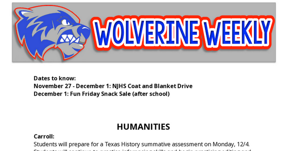 11/27-12/1 7th Grade Newsletter