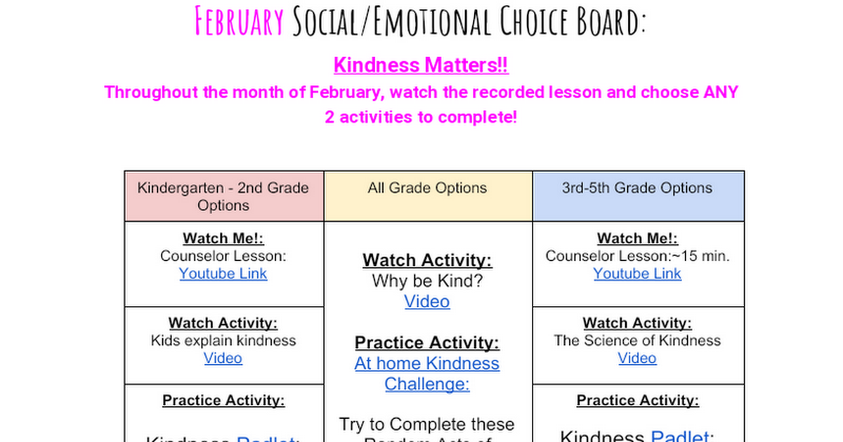 SEL February 2021 Choice Board