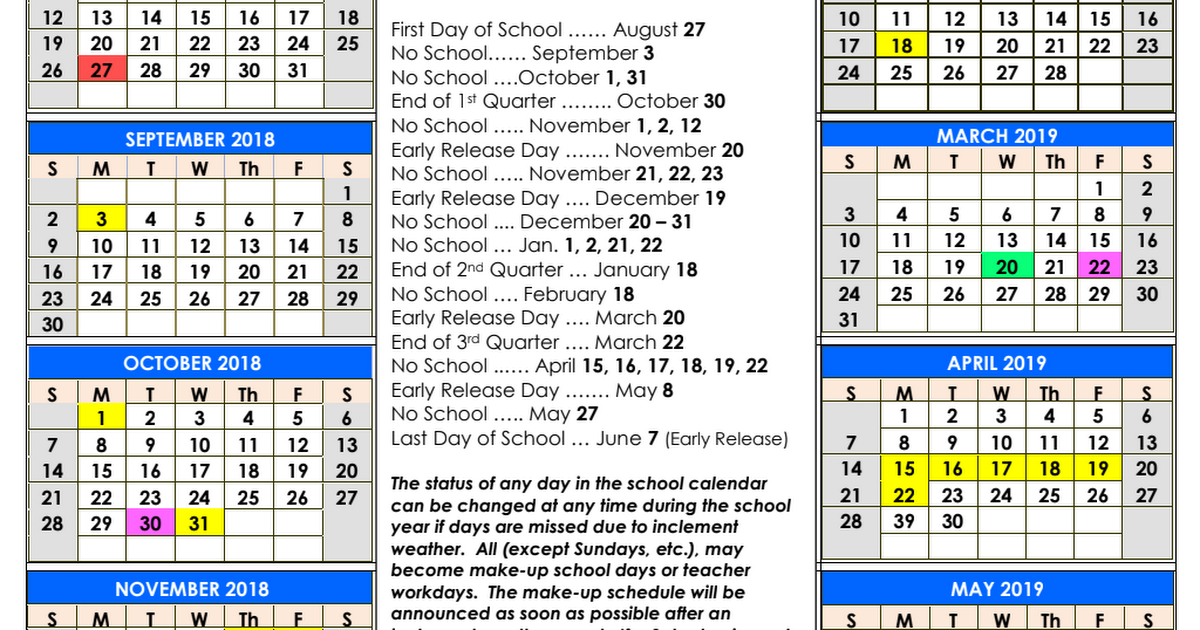 School District Calendar 2018 - 2019.pdf