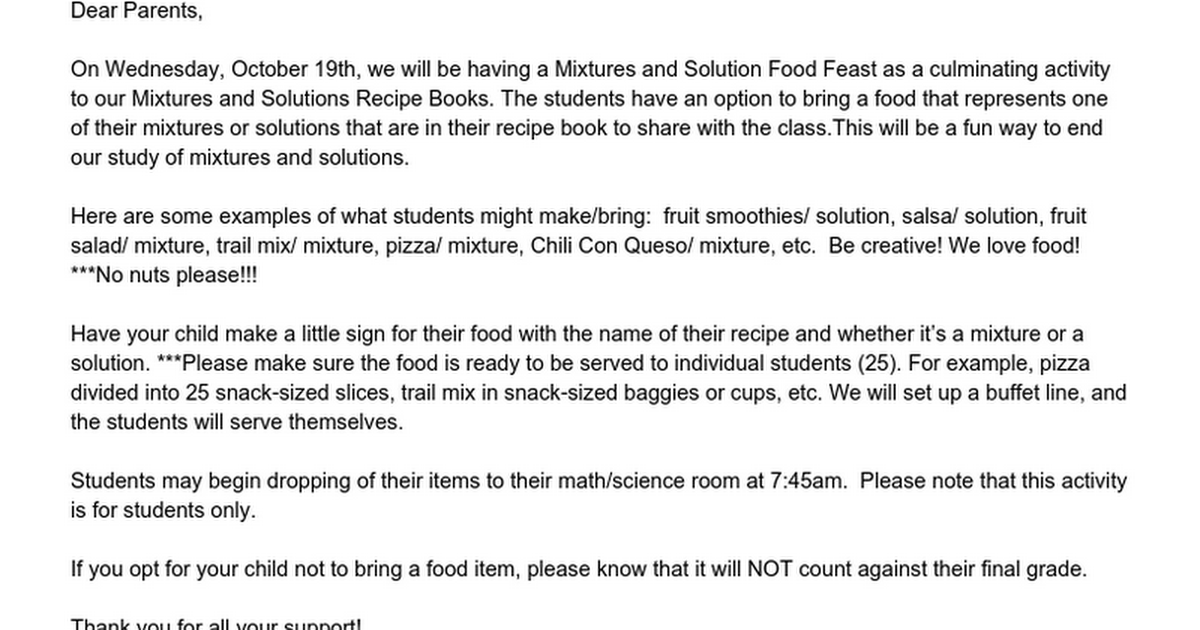 Mixtures and Solutions Food Letter