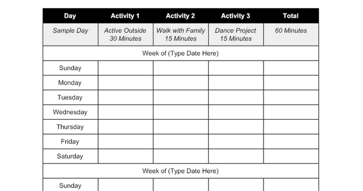 OPENPhysEd.org 2-Week Physical Activity Log