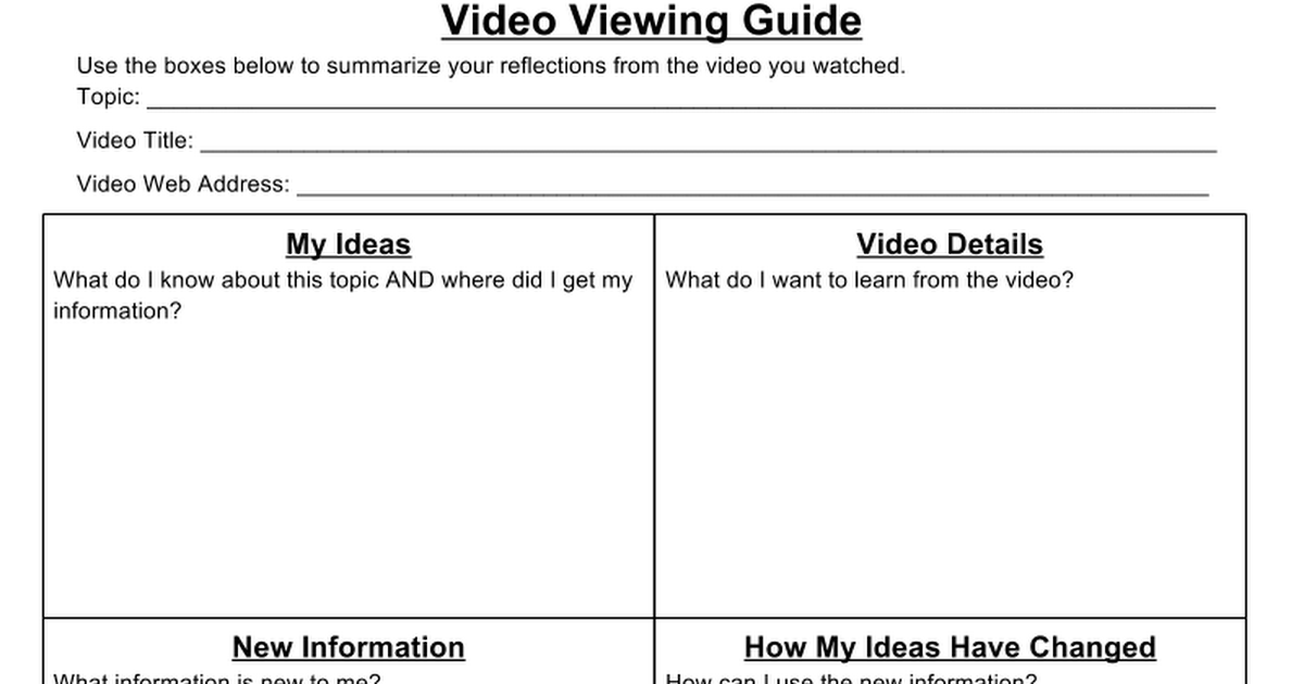 Video Viewing Guide