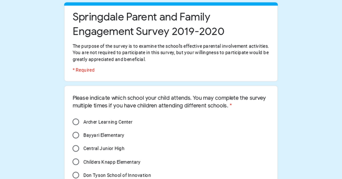 Springdale Parent and Family Engagement Survey 2019-2020