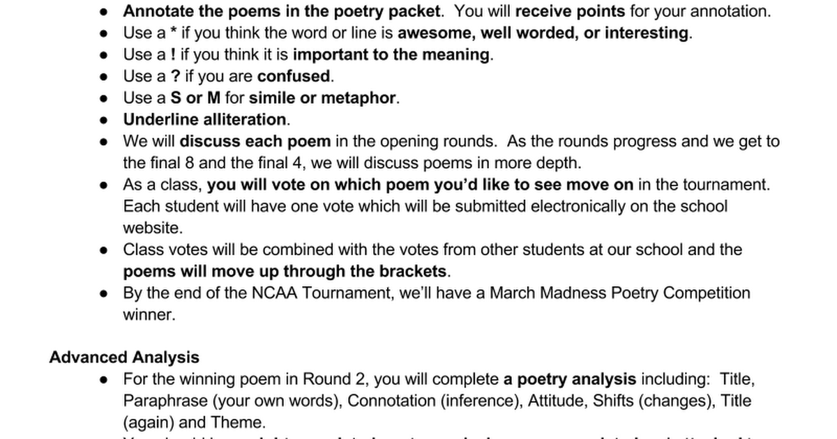 Poetry Tournament 2015