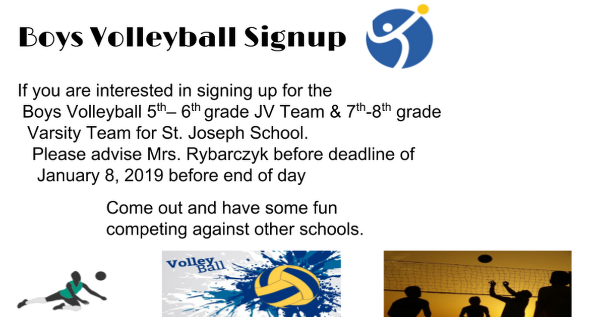Boys Volleyball Signup Flyer