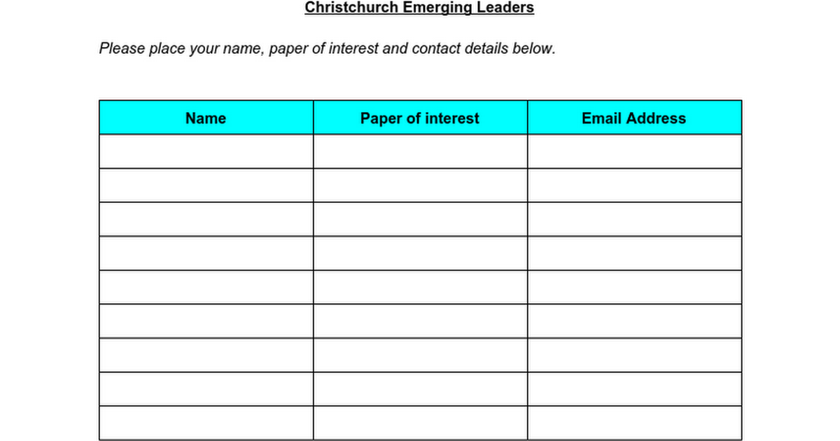Christchurch Emerging Leaders