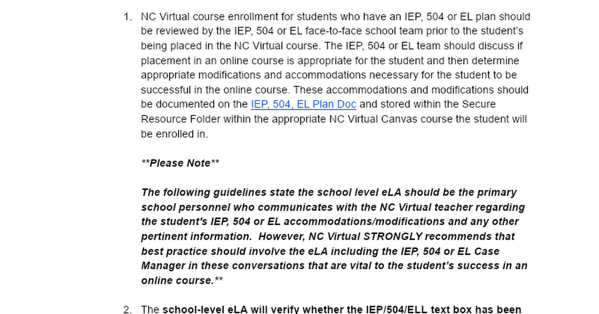 NCVPS IEP/504 Guidelines for NCVPS Teachers and District eLAs
