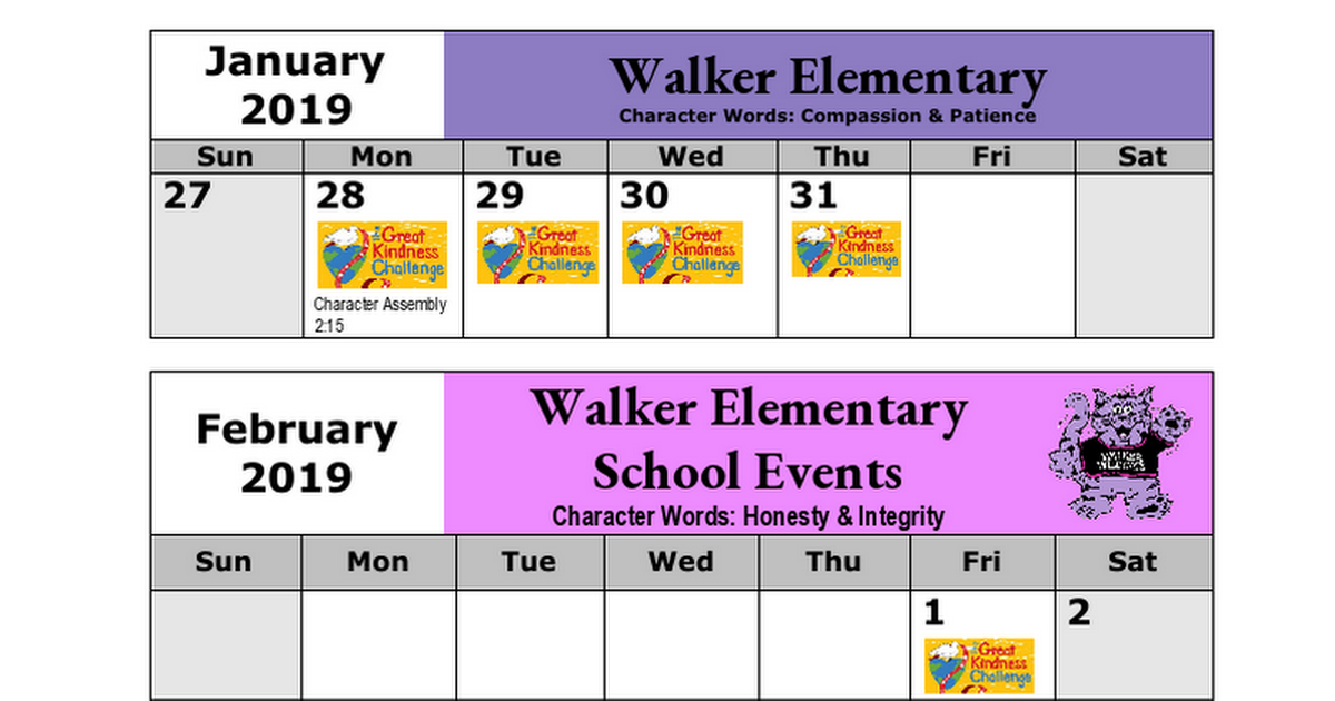 Walker Parent Calendar Jan-Feb 2019