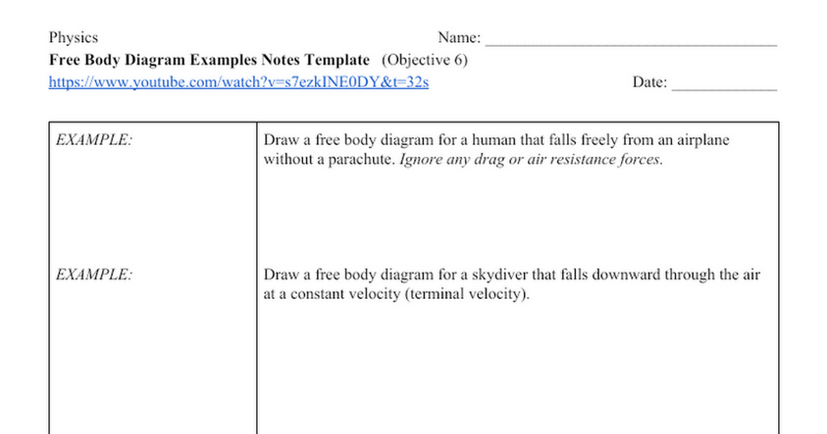 Free Body Diagram Examples Notes Template