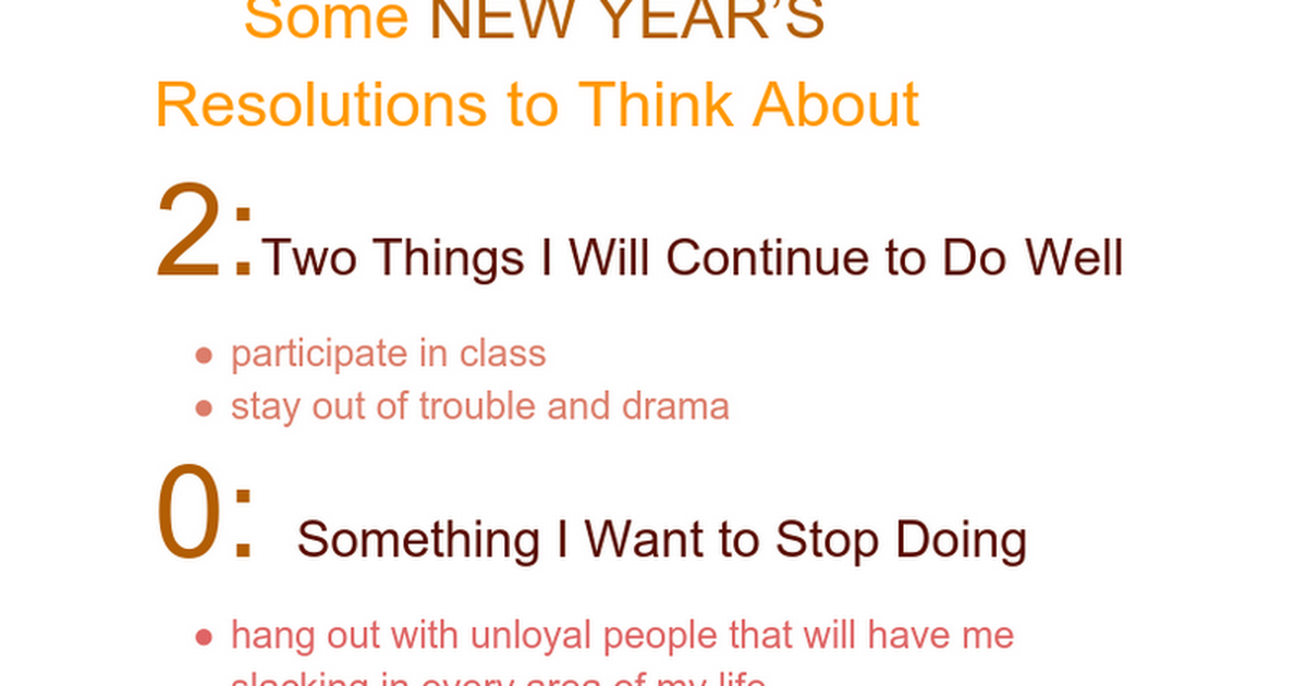 Some NEW YEAR'S Resolutions to Think About