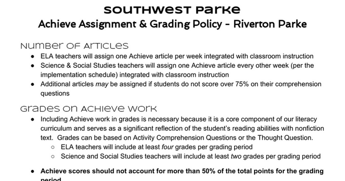 Achieve Grading Policy - Riverton