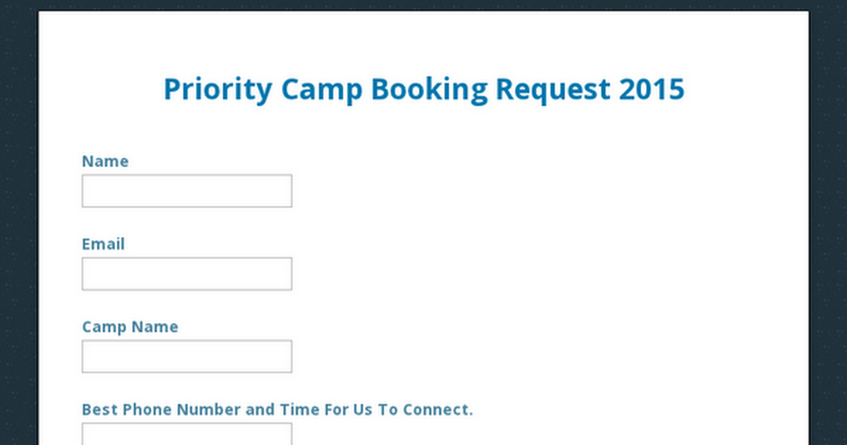 Priority Camp Booking Request 2015