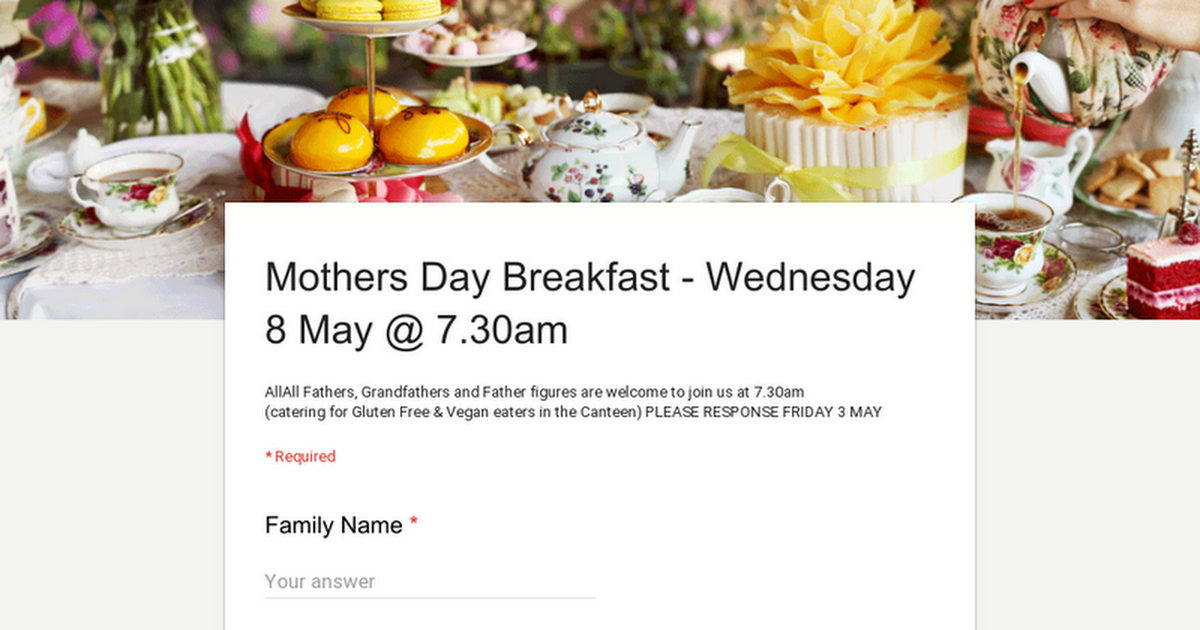 Mothers Day Breakfast - Wednesday 8 May @ 7.30am