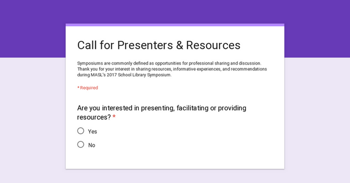 Call for presenters & facilitators