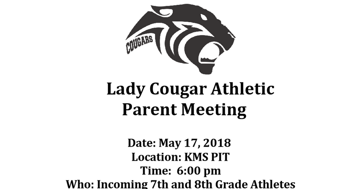 Lady Cugar Athletic Parent Meeting.docx