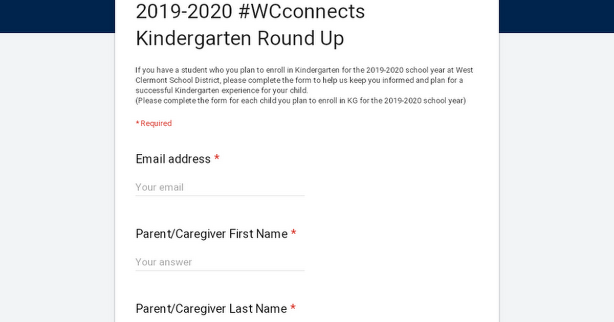 2019-2020 #WCconnects Kindergarten  Round Up
