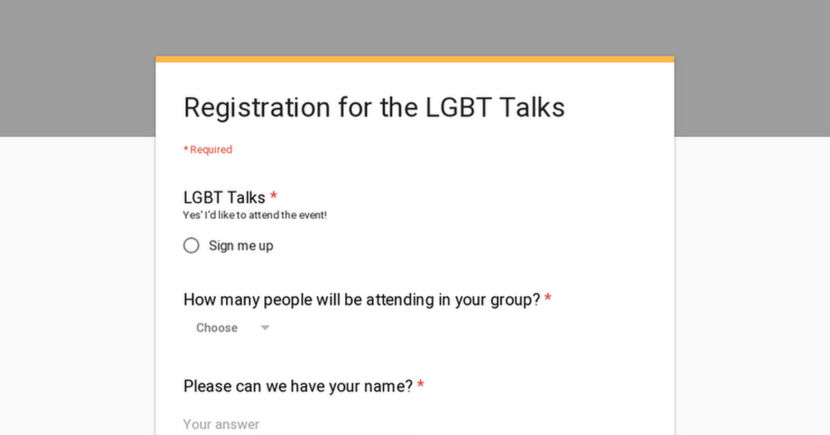 Registration for the LGBT Talks
