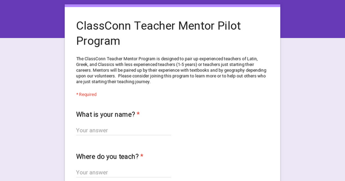 ClassConn Teacher Mentor Pilot Program
