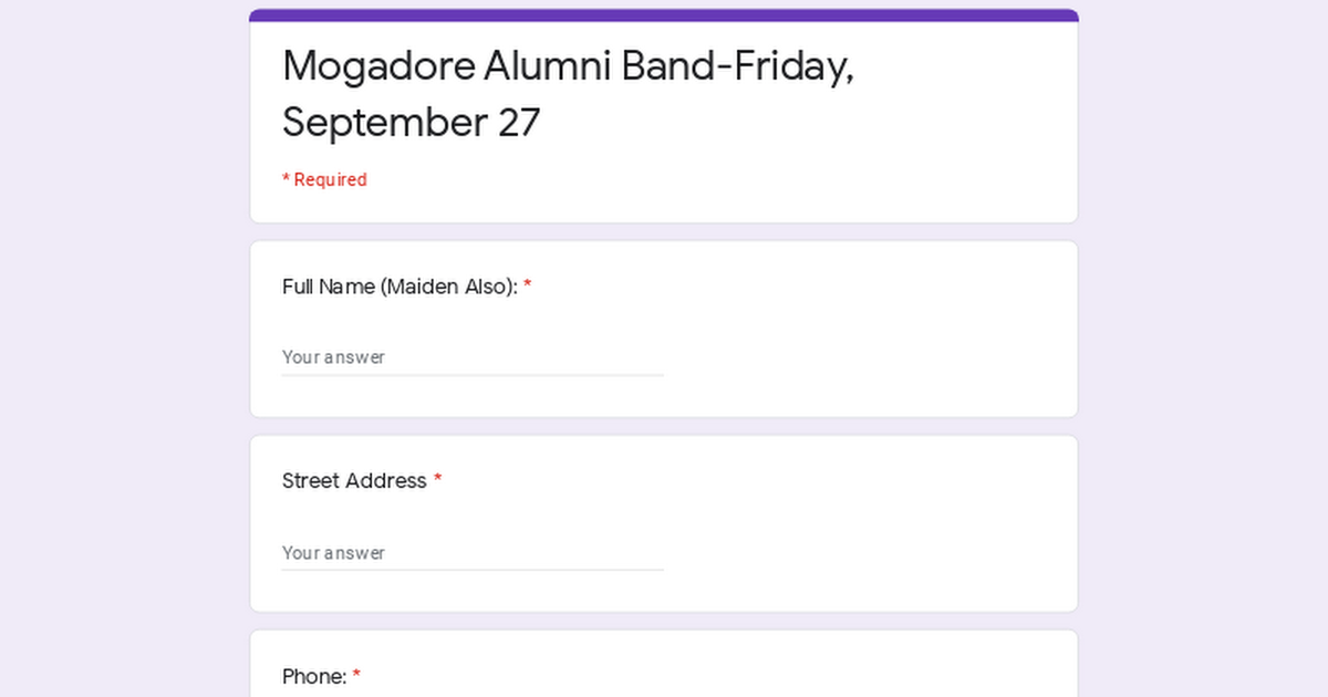 Mogadore Alumni Band-Friday, September 27