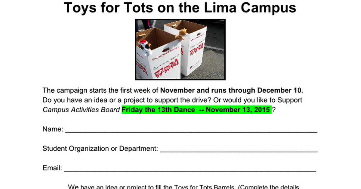 Toys for Tots on the Lima Campus