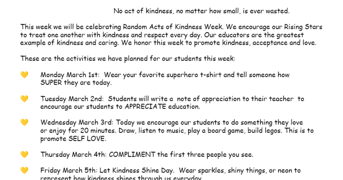 ESS Random Acts of Kindness Week