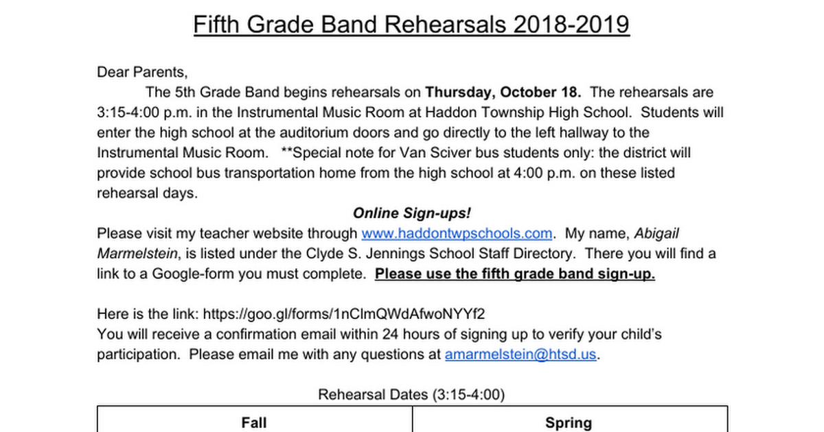 Fifth Grade Band Rehearsals 2018-2019