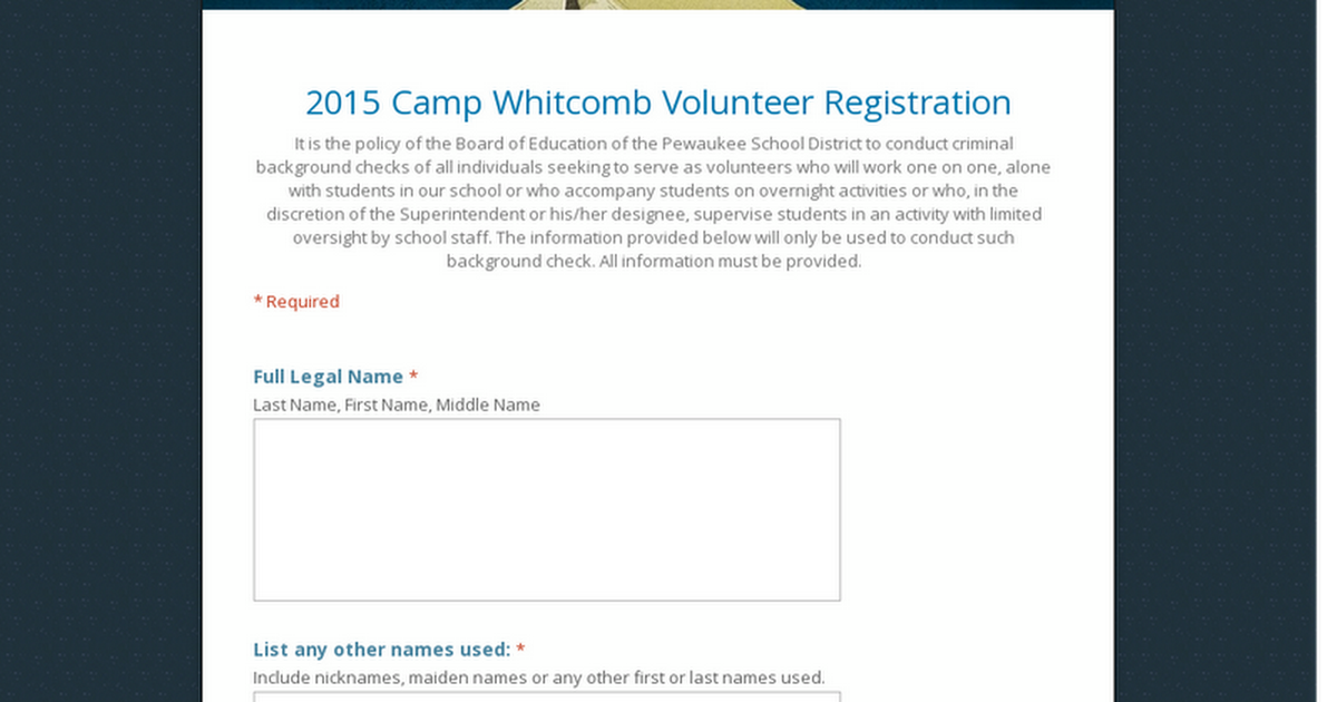 2015 Camp Whitcomb Volunteer Registration