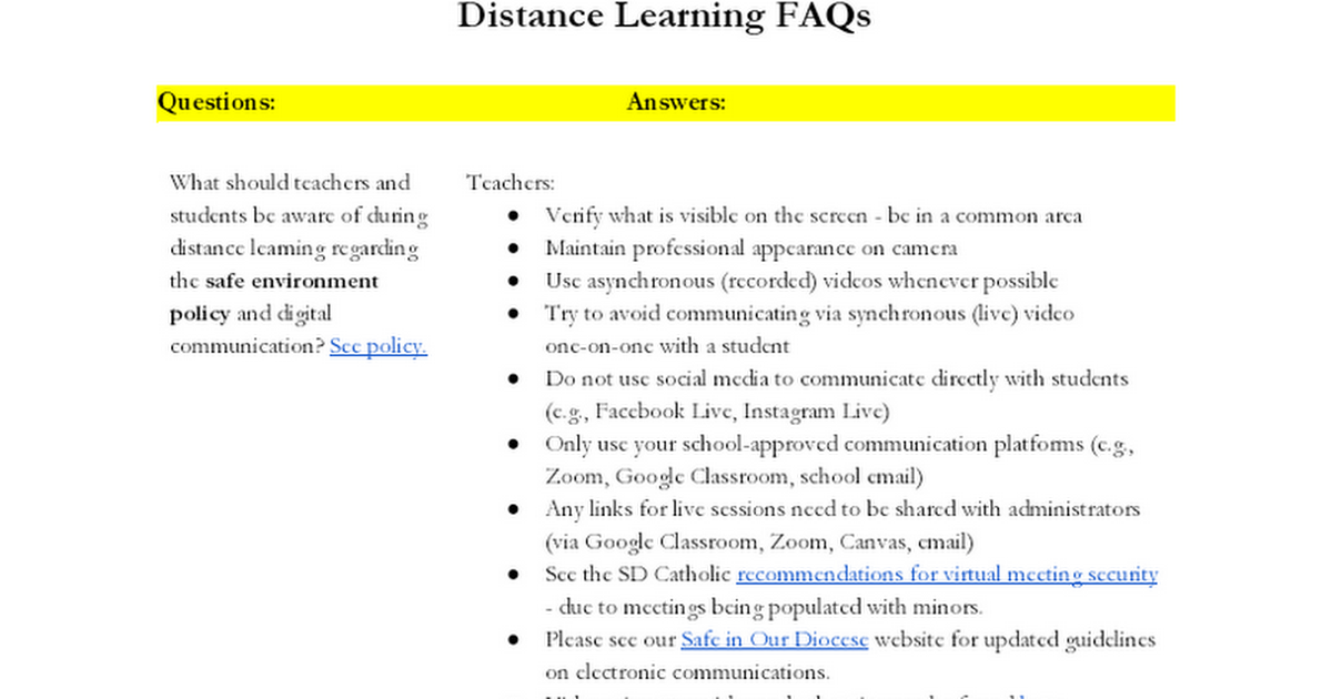 LIVE FAQs for Distance Learning