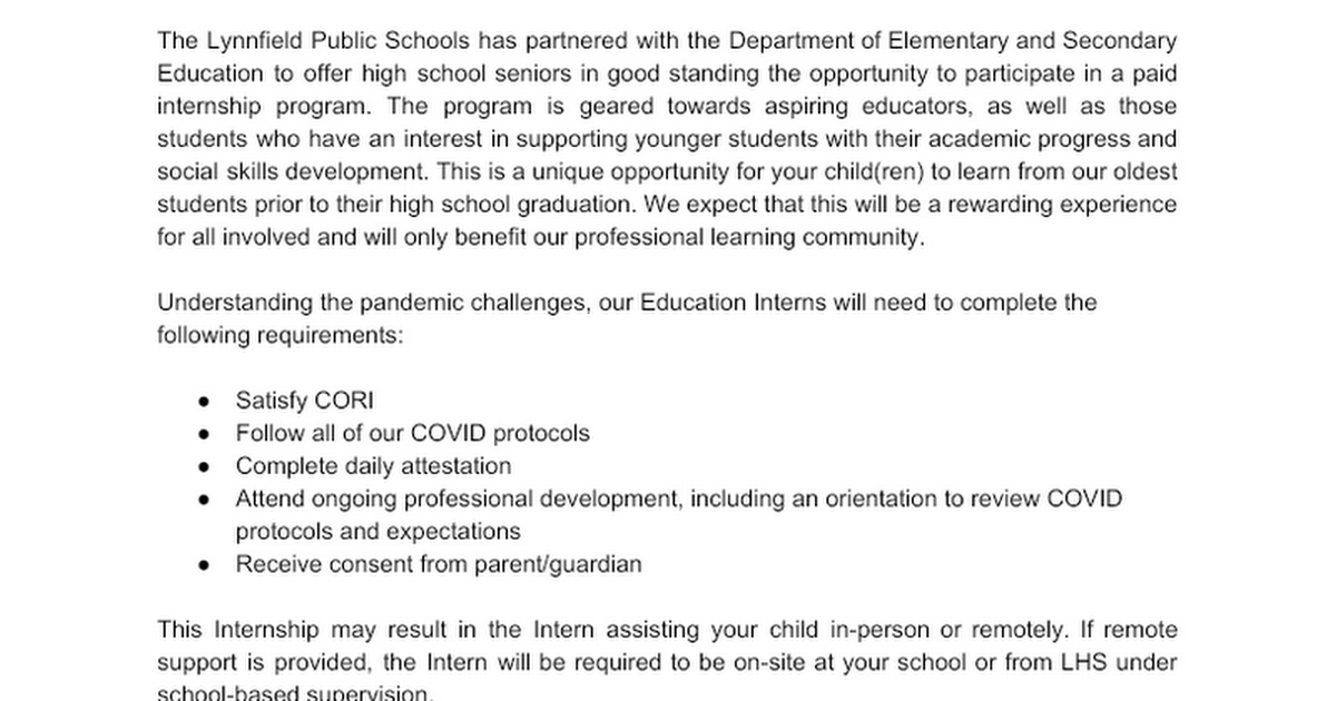 Senior Education Internship - Parent/Guardian Opt-out (Classroom)