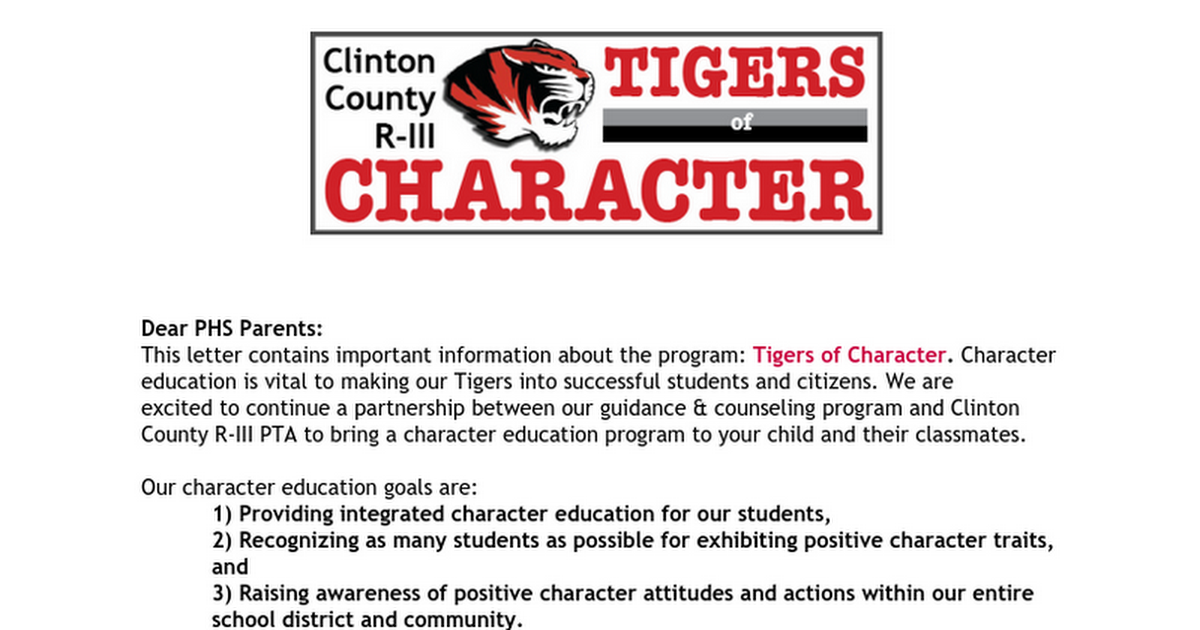 Tigers of Character Parents Letter-PHS