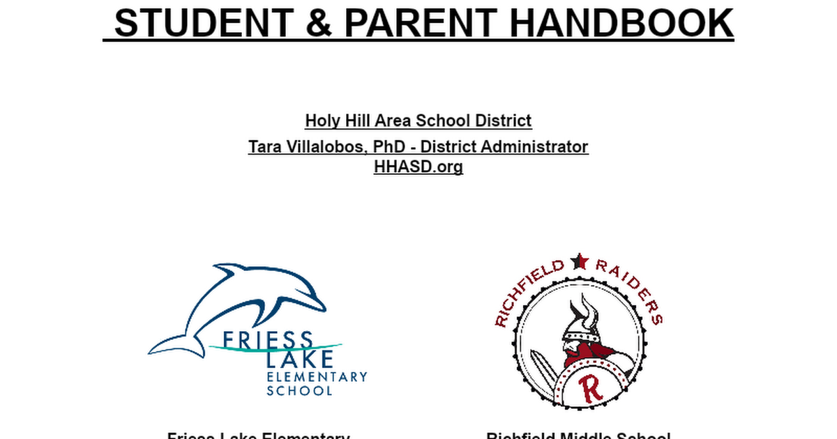 HHASD Student Parent Handbook 20/21 - Approved 8/12/2020
