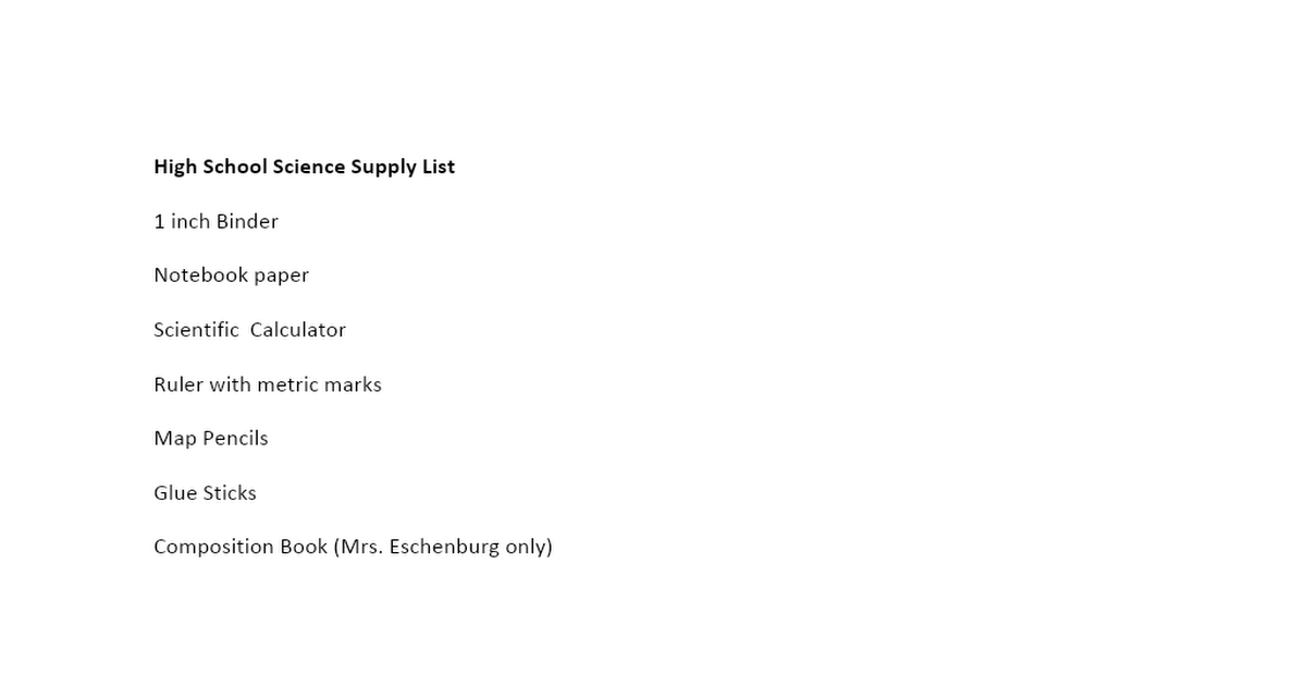 High School Science Supply List.docx